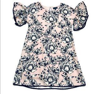 Luxology Pink & Black Floral Retro Dress Sz6